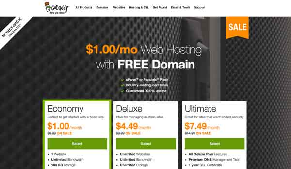 Godaddy $1 Hosting + domain
