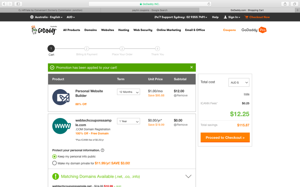 $1 website builder Godaddy Australia