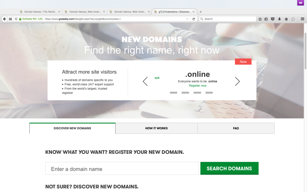 Godaddy New Domain TLD