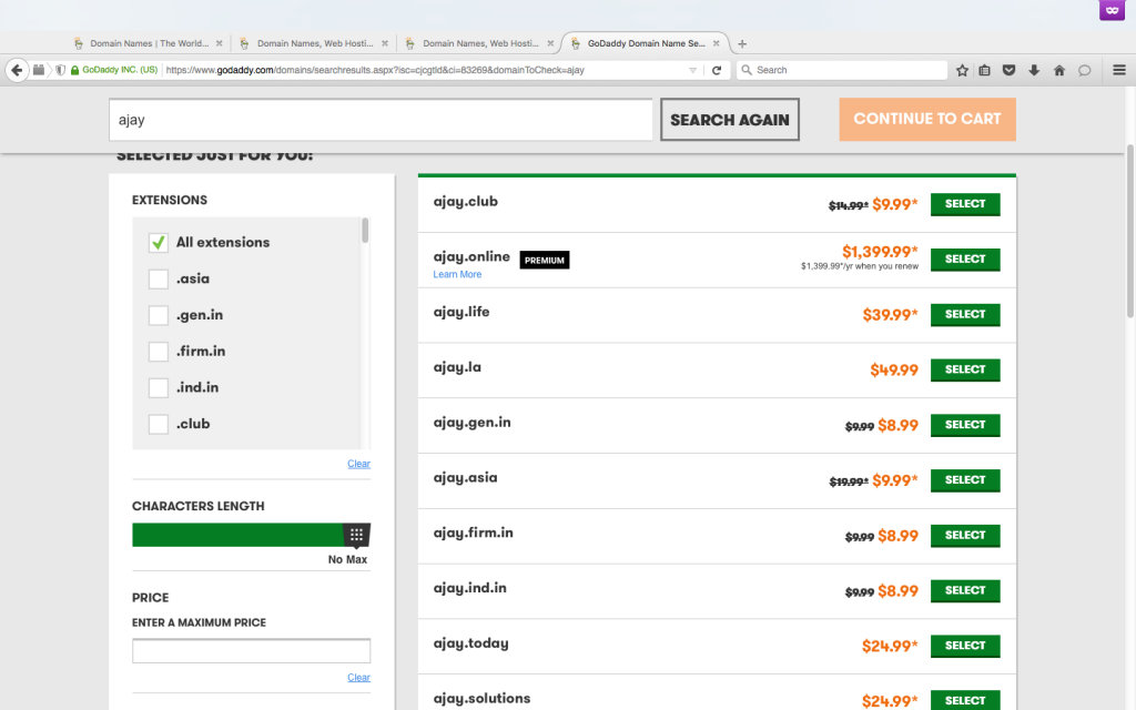 Godaddy New Domain Extension