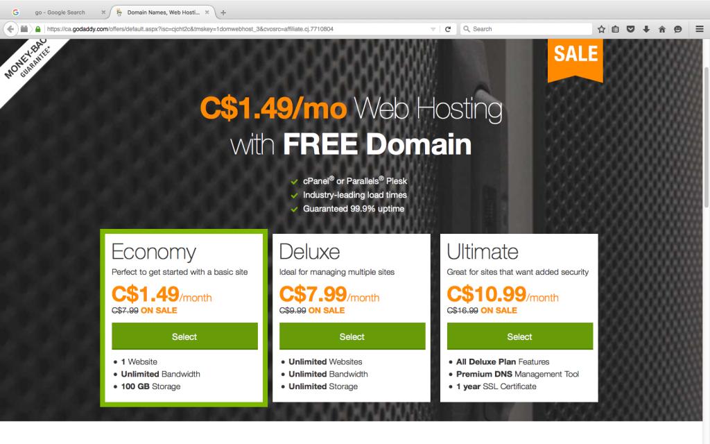 C$ 1.49 Godaddy Web Hosting Canada