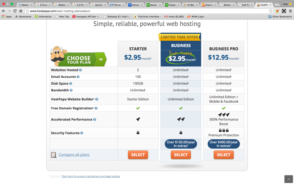 $ 2.95 web hosting by hostpapa