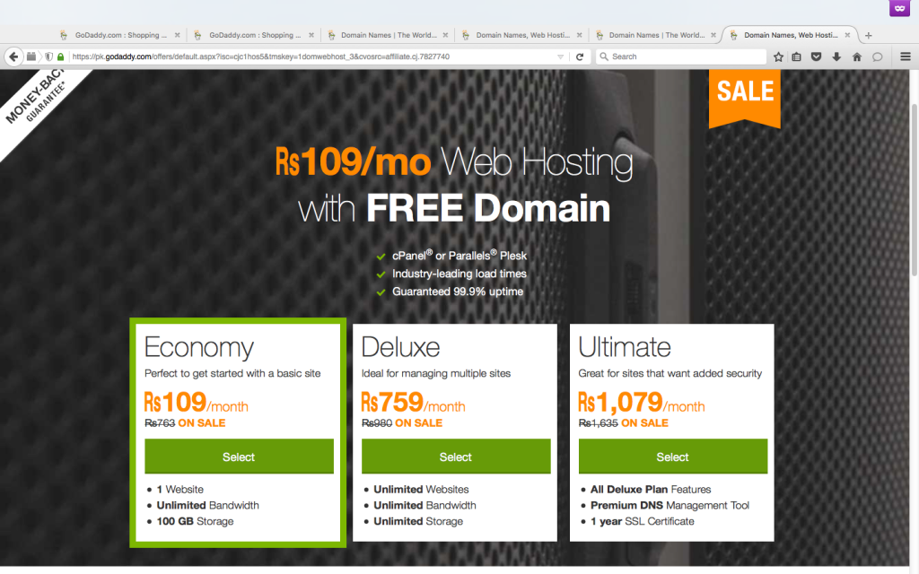 Godaddy Pakistan Rs 100 Hosting