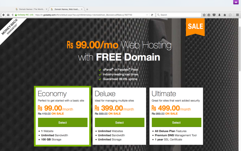 Rs 99 Godaddy Web Hosting