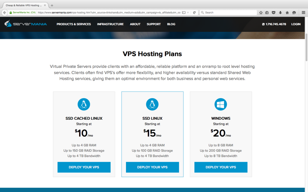 $ 10 VPS Hosting by ServerMania