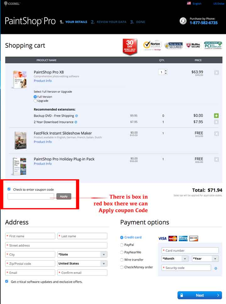 how to apply coupon code on corel