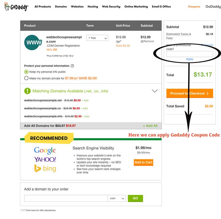 How to apply Godaddy Renewal Coupons on Cart for Domain & Web Hosting