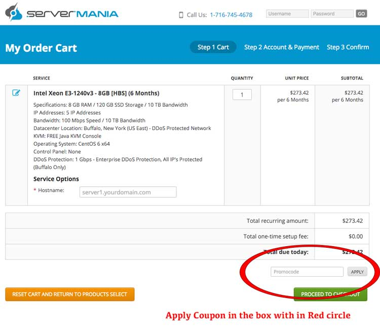 How to Apply Coupon on ServerMania