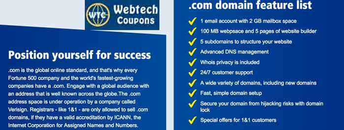 1and1Domain Coupons