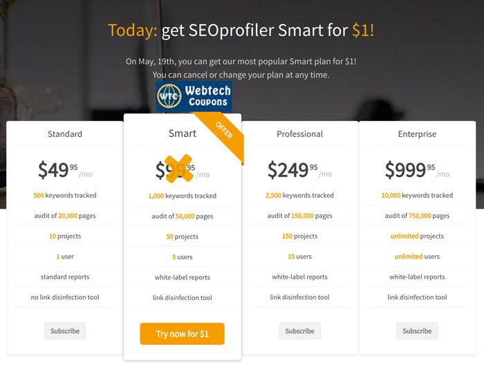 SEOprofiler One Dollar coupon