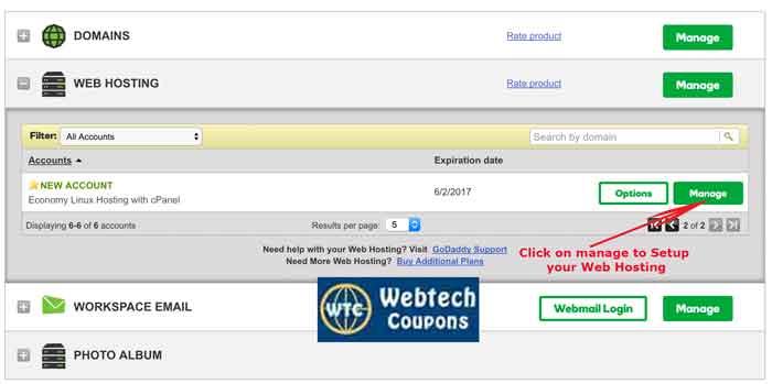 Godaddy Web Hosting Setup starts from manage button.