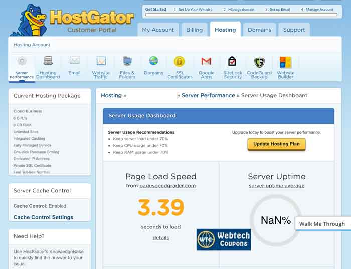 All stats of Hostgator Cloud Web Hosting.