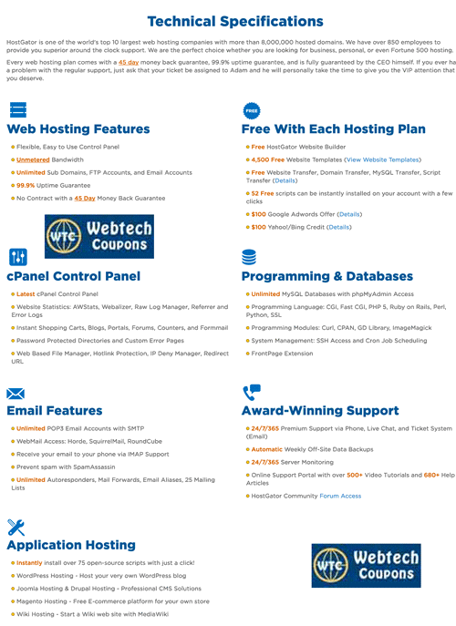 Hostgator Web Hosting Technical Inside with all features & qualities.
