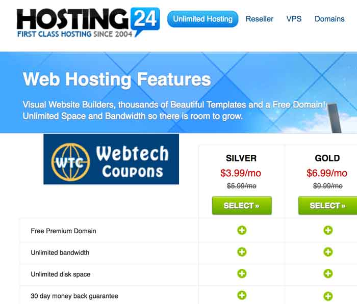 Hosting24 Shared Web Hosting Package