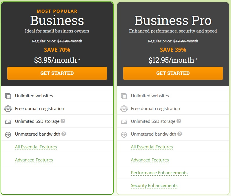 Hostpapa business Hosting Discount Plans