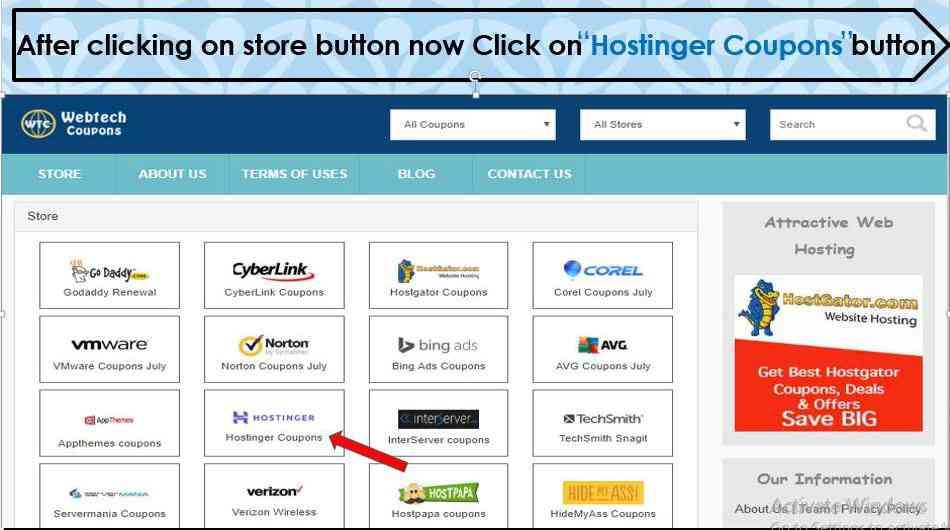 Click on Hostinger coupon