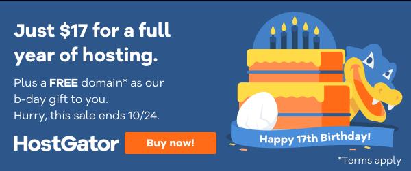 HostGator Birthday Sale $17