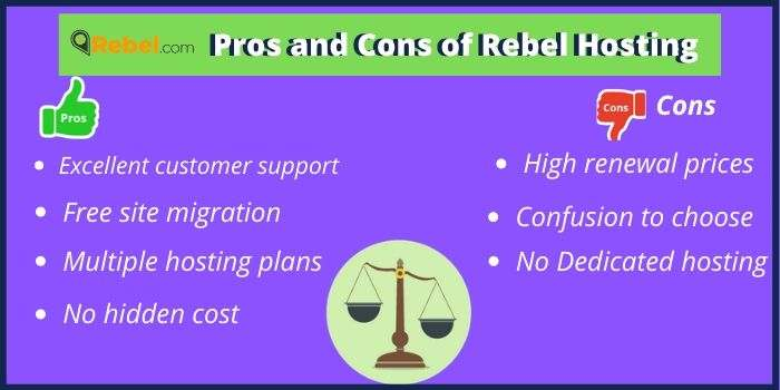 Pros and cons of Rebel hosting