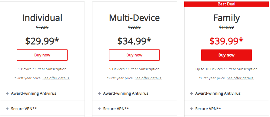 mcafee prices check out