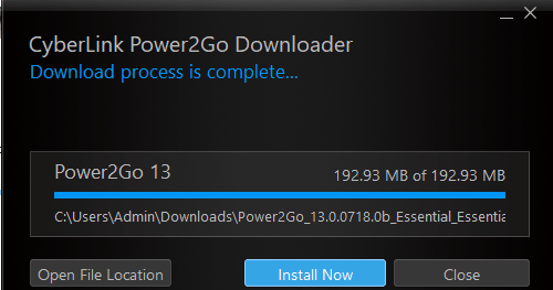 power2go file size