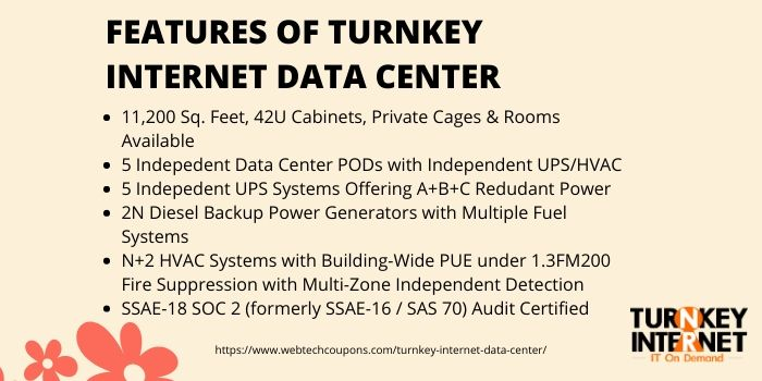 Features of Turnkey Internet Data Center