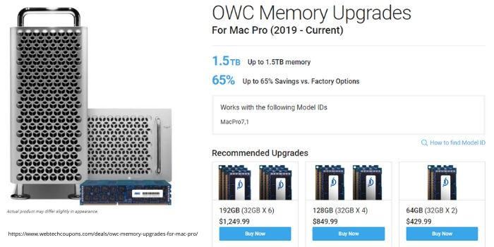 Upto 65% Off OWC Memory Upgrades For Mac Pro