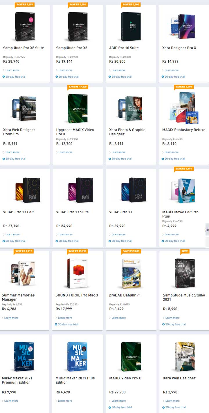 Magix Product list