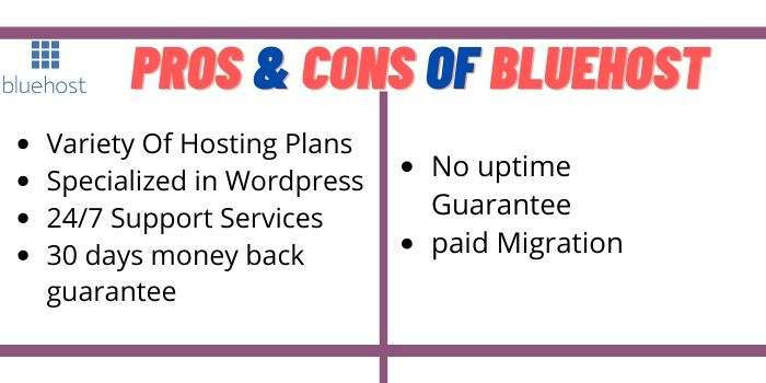 Pros & Cons Bluehost