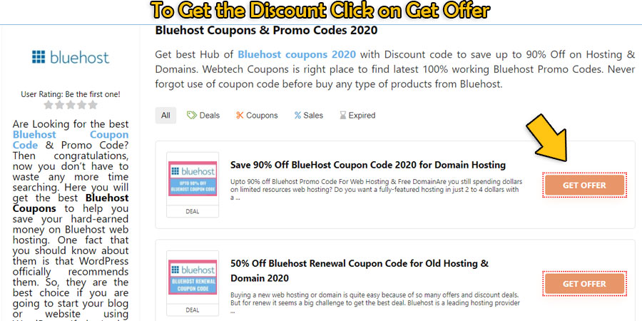 Click Bluehost Promo Code