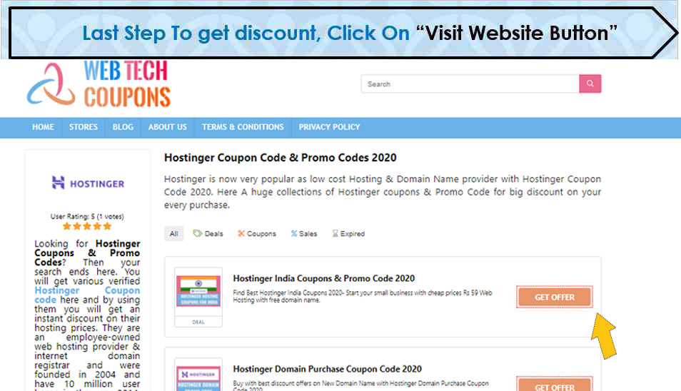 Click on visit website button