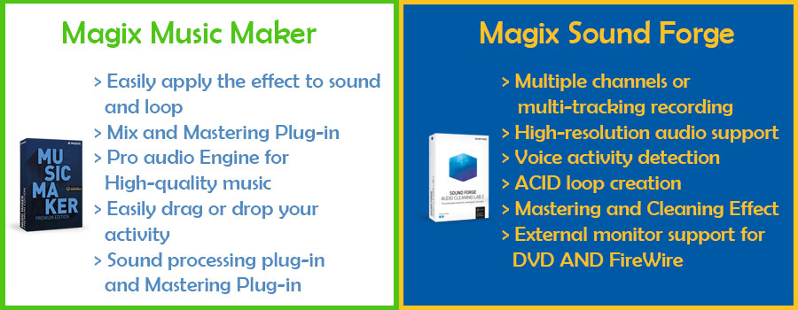 feature comparison of magix music maker and sound forge