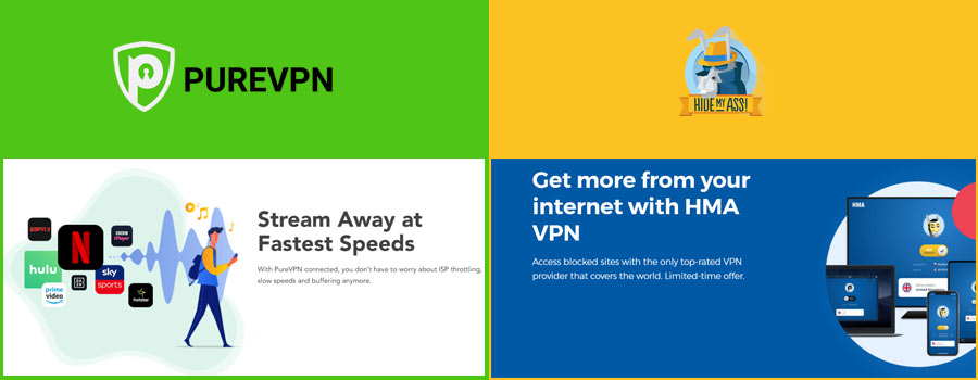 speed comparison purevpn vs HMA