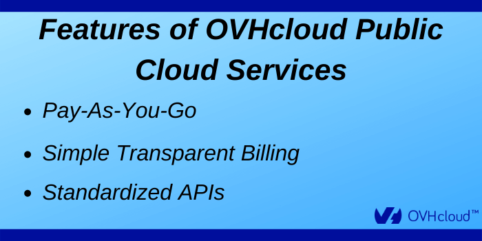 OVHcloud Coupon Code - Features of OVHcloud Public Cloud Service