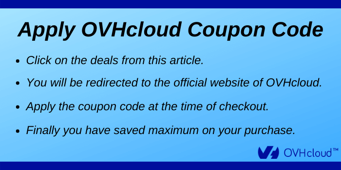 OVHcloud Coupon Code - Steps to apply coupon code