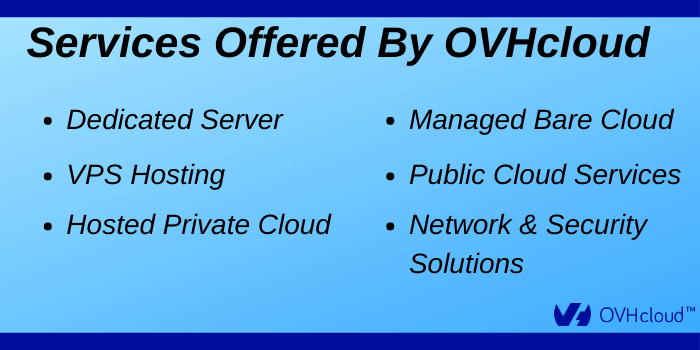 OVHcloud Discount Code - Services offered by OVHcloud
