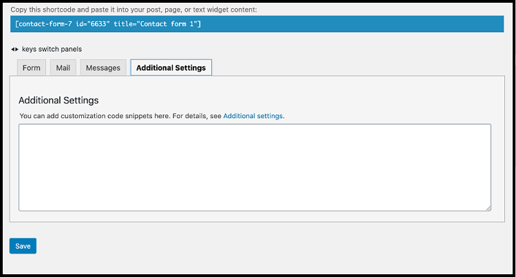 Add Additional Setting in contact form 7