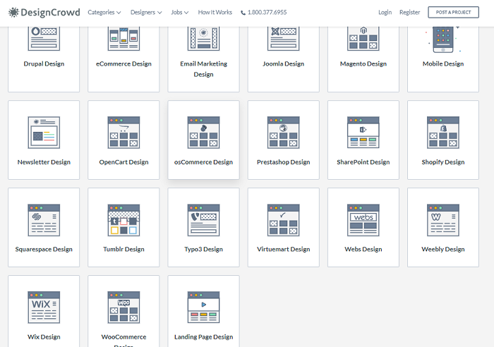 DesignCrowd Web Design Categories