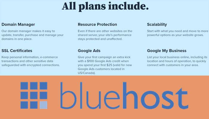 Bluehost Shared Web Hosting Common features