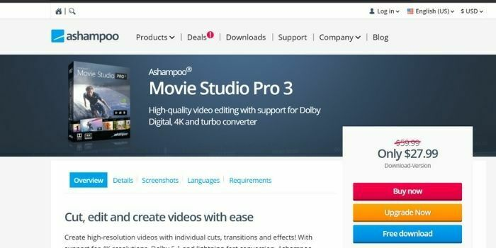 Ashampoo Movie Studio, best Filmora alternative Windows