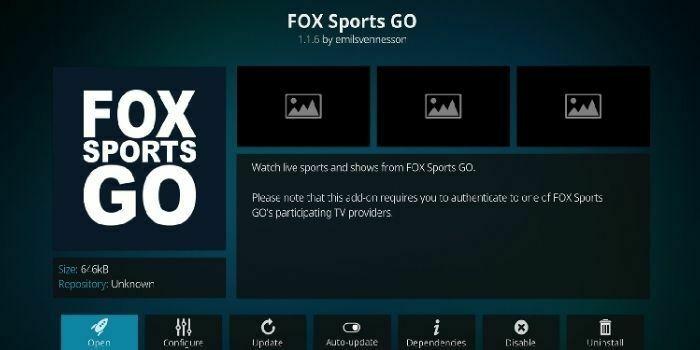 FOX sports go working kodi addon