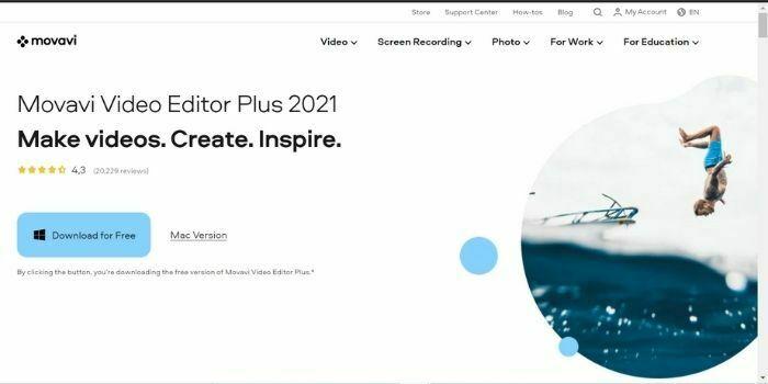 Movavi Video Editor Plus is an alternative to Filmora